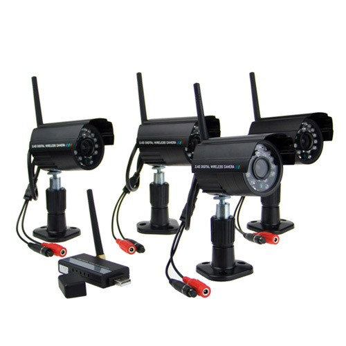 4 x Night Vision 2.4GHz Waterproof Wireless Digital Camera Security Kit